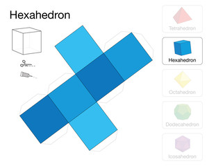 Hexahedron platonic solid template. Paper model of a cube, one of five platonic solids, to make a three-dimensional handicraft work out of the blue square net.