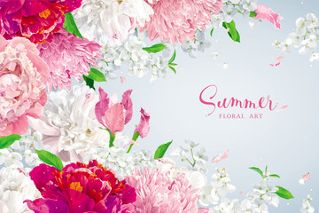Pink, red and white summer flowers background