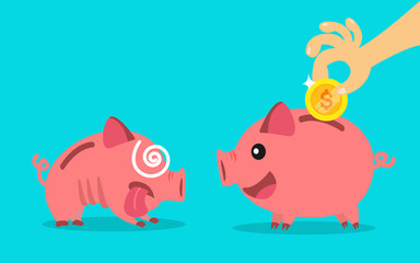 piggy bank. money saving concept. vector illustration.
