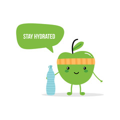 Cute fitness green apple character giving advice to stay hydrated, drink enough water.