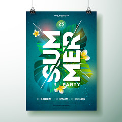 Vector Summer Beach Party Flyer Design with flower and tropical plants on blue background. Summer nature floral elements and typographic letter. Design template for banner, flyer, invitation, poster.