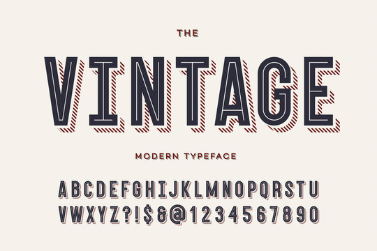 Vector vintage colorful typeface. Alphabet trendy typography sans serif style for party poster, printing on fabric, t shirt, promotion, decoration, stamp, label, special offer. Cool font. 10 eps