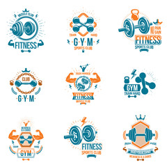 Set of vector heavy load theme symbols and advertising leaflets composed with dumbbells, kettle bells sport equipment and strong man body silhouettes.