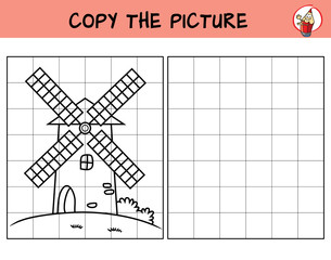 Windmill. Copy the picture. Coloring book. Educational game for children. Cartoon vector illustration