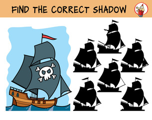 Pirate ship. Find the correct shadow. Educational matching game for children. Cartoon vector illustration