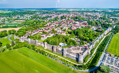 Aerial view of Provins, a town of medieval fairs and a UNESCO World Heritage Site in France