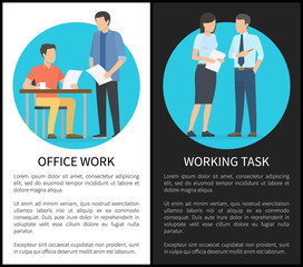 Office Work and Working Task Vector Illustration