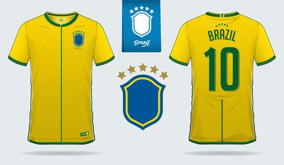 49d7d7a7b Set of soccer jersey or football kit template design for Brazil national  football team. Front