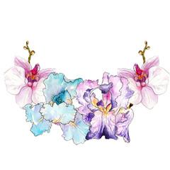 watercolor drawing of irises. logo template, frames