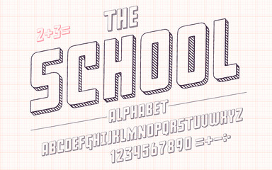 Latin alphabet. School font in cute sketch 3d style.