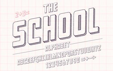 Latin alphabet. School font in cute sketch 3d style.