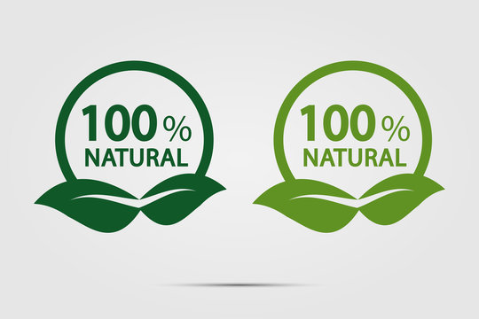 eco green energy concept,100 percent natural label. Vector illustration.