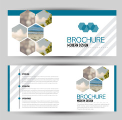 Flyer banner or web header template set. Vector illustration promotion design background. Blue color.