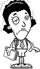 Sad Cartoon Black Woman Student
