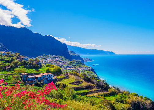 Panorama of Madeira island, Portuguese archipelag. Ponta de Sao Jorge on Atlantic ocean coast