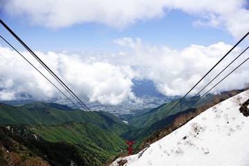 千畳敷から下山するロープウェイの展望