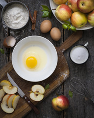 Ingredients for apple pie cooking, top view