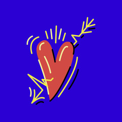 Heart with music arrow colored vector illustration