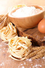 cooking tagliatelle and ingredient