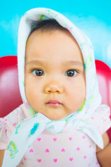 Faces and gestures of Asian babies.