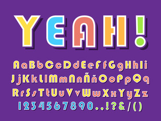 High Quality Modern Festive Alphabet on Color Background . Isolated Vector Elements