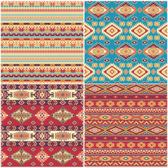 Set of 4 Ethnic vector seamless patterns native american style