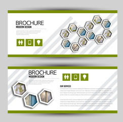 Set of banners for web and advertisement print out. Horizontal flyer handout design. Green color. Vector illustration.