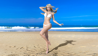 3D beautiful blonde woman white swimsuit bikini on sea beach. Summer rest. Blue ocean background. Sunny day. Conceptual fashion art. Seductive candid pose. Realistic render illustration.
