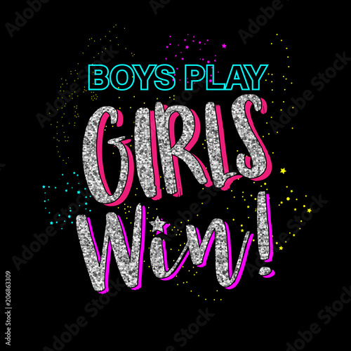 Boys play girls win  Graphic tee with glitter  Fashion slogan outfit