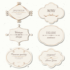 Vector set vintage labels and frames retro style. Insignias or Logotypes set. Vector design elements for business signs or logos, labels, badges, tags or stamps.