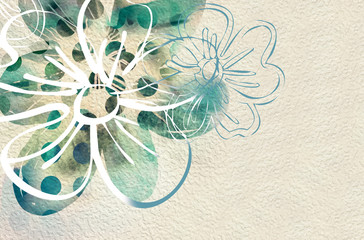 Abstract Floral Background. Watercolor Illustration.