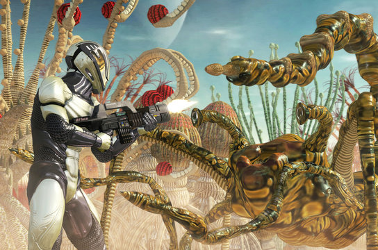 space trooper soldier and alien monster on a planet