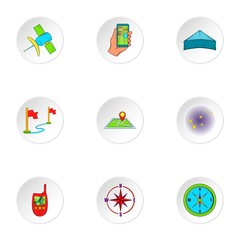 Navigation icons set. Cartoon illustration of 9 navigation vector icons for web