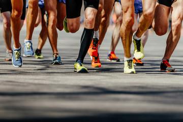 Wall Mural - group legs runners athletes run on asphalt road marathon