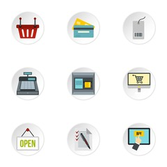 Shopping icons set. Flat illustration of 9 shopping vector icons for web