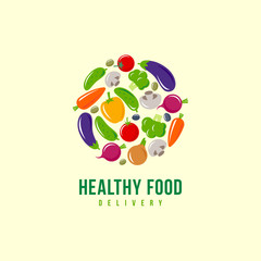 Healthy food logo. Vegetables and delivery emblem. Carrots, beets, cucumber, mushrooms, tomatoes, broccoli, bell pepper, eggplant and onions on a circle.