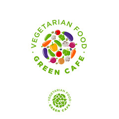 Green cafe vegetarian food logo. Vegetables emblem. Carrots, beets, cucumber, mushrooms, tomatoes, broccoli, bell pepper, eggplant and onions on a circle with green letters.