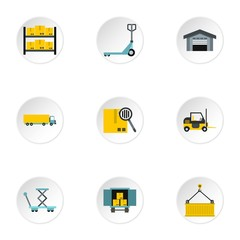 Shipping icons set. Flat illustration of 9 shipping vector icons for web