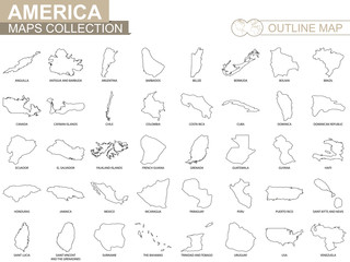 Outline maps of American countries collection.