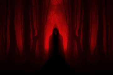 scary ghostly figure in haunted forest, halloween nightmare scene