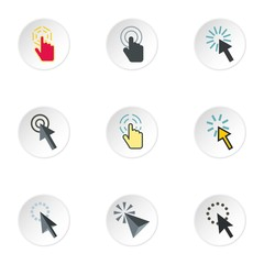 Pointer of computer icons set. Flat illustration of 9 pointer of computer vector icons for web