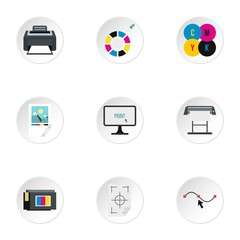 Printer icons set. Flat illustration of 9 printer vector icons for web