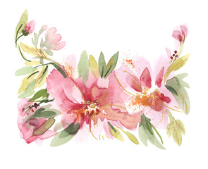 Watercolor Flowers Hand Painted Illustration