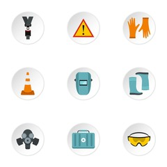 Construction icons set. Flat illustration of 9 construction vector icons for web