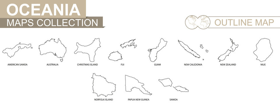 Outline maps of Oceanian countries collection.