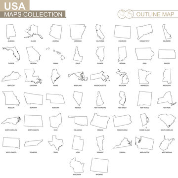 Outline maps of USA states collection.