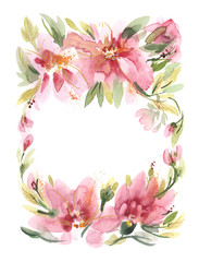 Watercolor Flowers Hand Painted Illustration.
