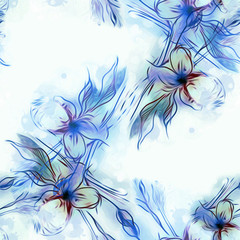 Floral Seamless Pattern. Watercolor Background.