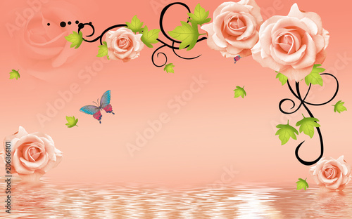 3d Rose Flowers Background With Butterfly Wallpaper For Walls