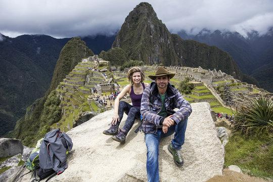 Young couple at Machu Picchu in Peru